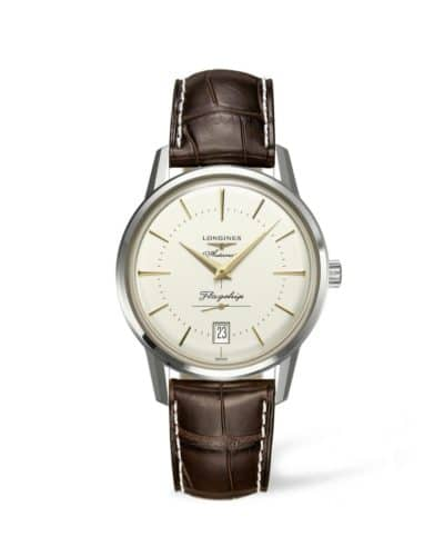 longines flagship heritage 38mm watch on leather